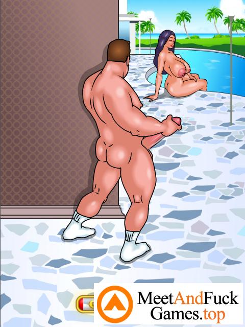 Poolside Peeping secretly watching on a nude beaty