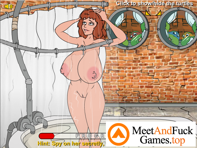 Teenage Mutant Fucking Turtles girl masturbates in the shower