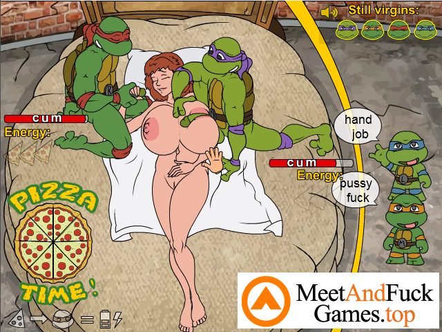 Teenage Mutant Fucking Turtles make her cum